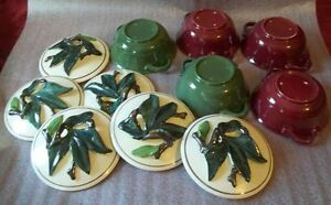Lot-of-5-Vintage-Pottery-5-034-covered-Dish