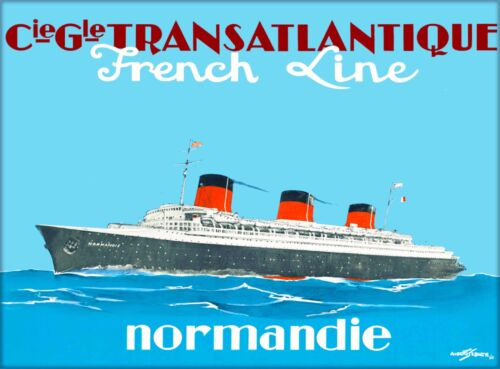 French Line Normandie Ocean Liner Vintage Travel Advertisement Art Poster Print