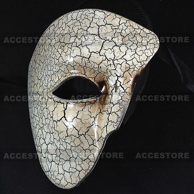 Phantom White Venetian Half Face Masquerade Mask Ball For Men