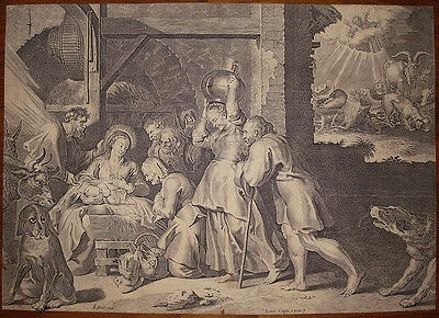 Stampa antica old print 1652 N. Visscher Natività Nativity kupferstich jesus