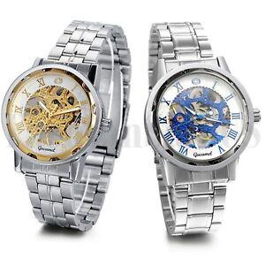 Men-Business-Roman-Numerals-Skeleton-Mechanical-Automatic-Wrist-Watch-Steel-Band