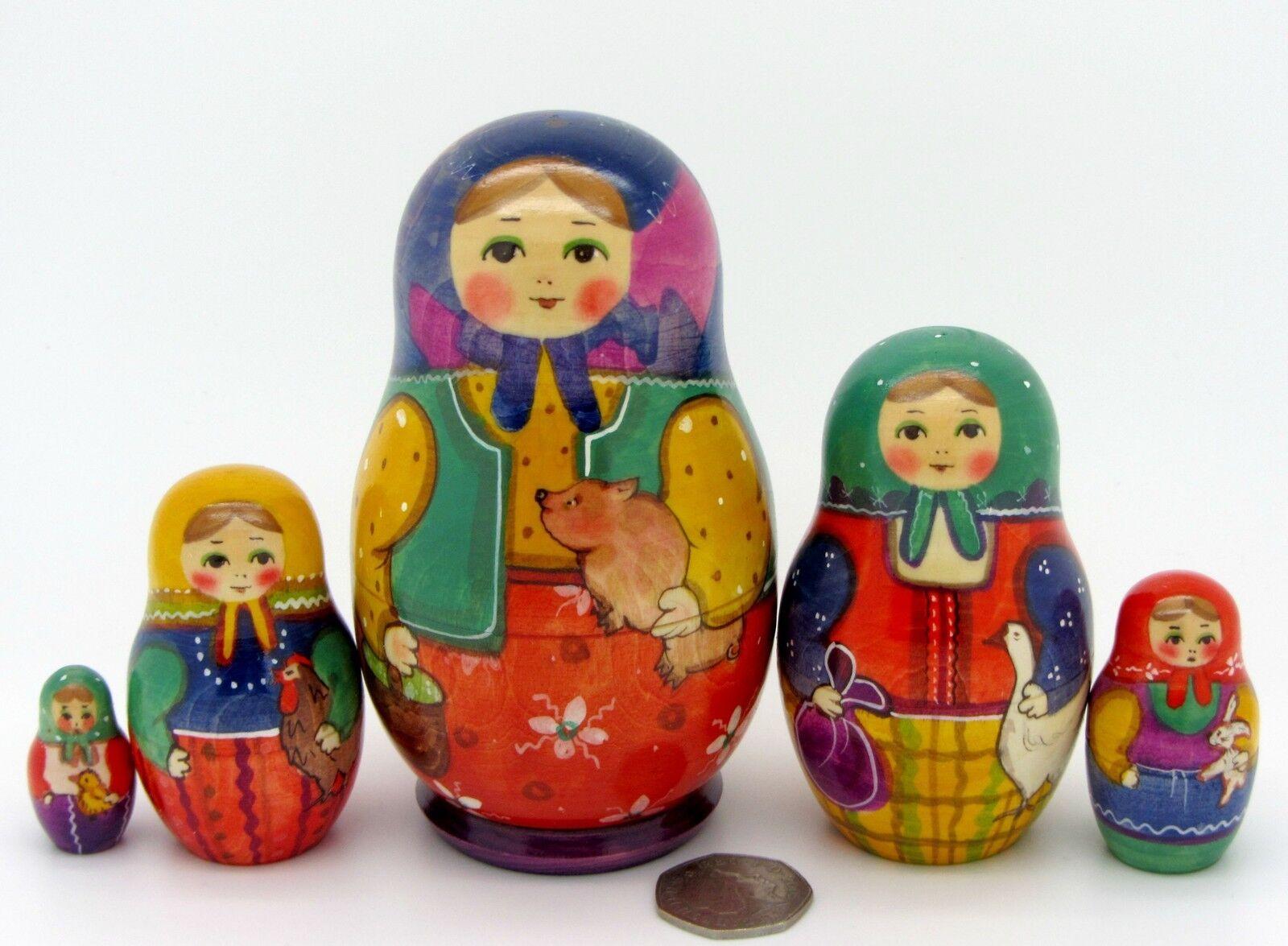 Ryabova MATRIOSCA Maiale  Pollo Oca bambole russe a matrioska dipinti a uomoo 5 firmato  consegna diretta e rapida in fabbrica