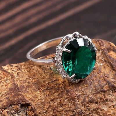 925 Sterling Silver CZ Apatite Wedding Ring Jewelry Free Shipping AJ91