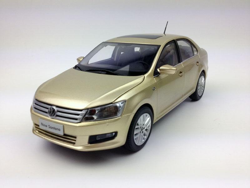 1 18 Shanghai Volkswagen Santana oro Coche Modelo de Metal Fundido