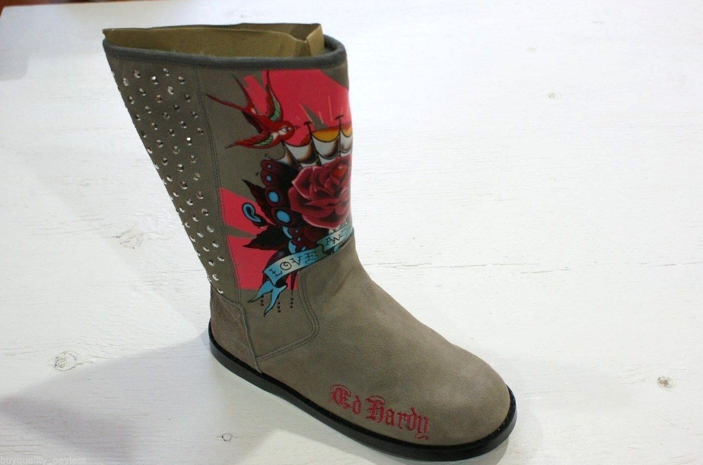 Ed Hardy Bootstrap Suede Fur Mid Calf BOOTS Womens 5 Grey NEW IN BOX