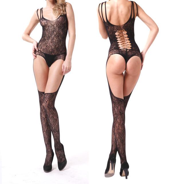 Women Sexy Mesh Crotchless Fish Net Body stocking Bodysuit Lingerie Babydoll