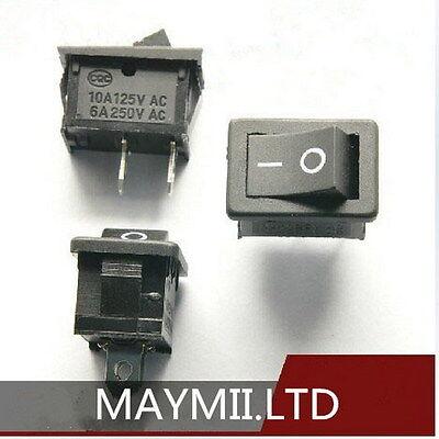 High Quality 10pcs Black Boatlike Rocker Switch KCD1-101 250V 6A 2PIN New H