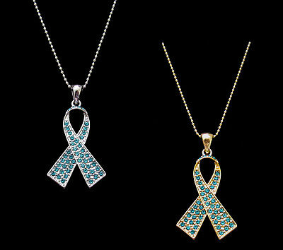 Crystal Teal Ribbon Bow Ovarian Cancer Awareness Pendant Charm Necklace Ebay