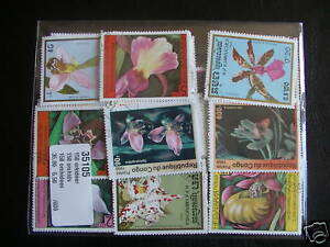 50-TIMBRES-FLEURS-ORCHIDEES-50-TIMBRES-TOUS-DIFFERENTS-STAMPS-FLOWERS-ORCHIDS