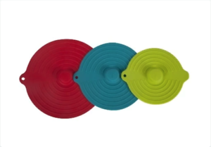 Red//Blue//Green Core Kitchen Set of 3 Silicone Suction Lids for Bowls
