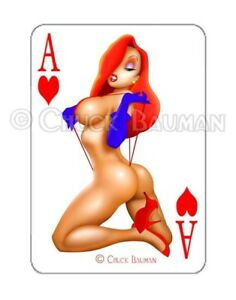 Jessica-Rabbit-SLING-FLING-playing-card-decal-busty-pin-up-sticker-Guitar-Art
