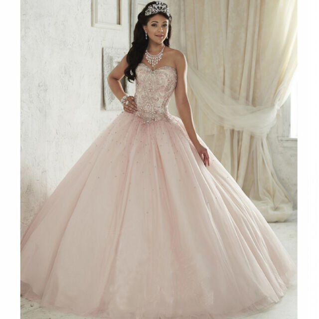 Pink Ball Gown Quinceanera Dresses for 15 Years Crystal Cheap ...