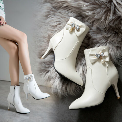 Women Bowknot Shoes Boots Pointed Toe Size Zip Party Rhinestone Stilettos Heel