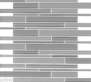 10sf gray random subway glass mosaic tile kitchen 20929