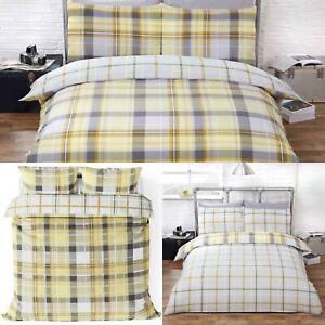 Ochre Duvet Covers Yellow Reversible Tartan Check Hamilton Quilts Bedding Sets