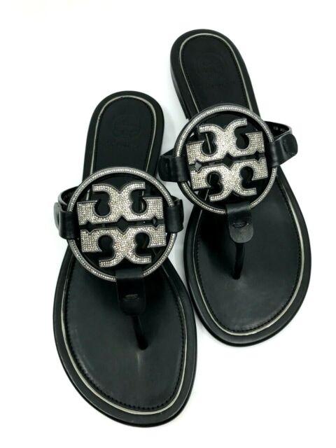 Tory Burch NEW Miller Metal Crystal Embellished Black Leather Sandal 6.5M $248