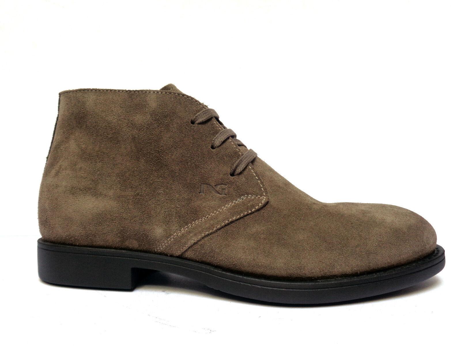 Herrenschuhe schwarz Giardini A604393 Schuhe Casual Men aus Wildleder Far. Peat