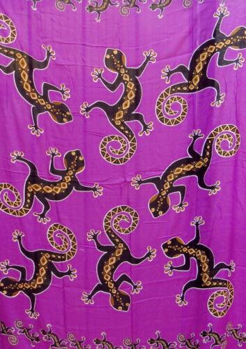 Sarong Wandbehang Saron Pareo Wickelrock Tuch Schal Gecko lila Tücher Strandtuch
