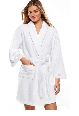 100% Cotton Women's White Short Spa Gown Bath Robe w/ Pockets- S/M/L Size