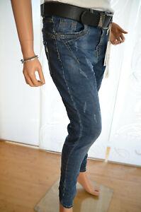 Effekt in Blau Jewelly Baggy Boyfriend Damen Jeans Hose mit Destroy