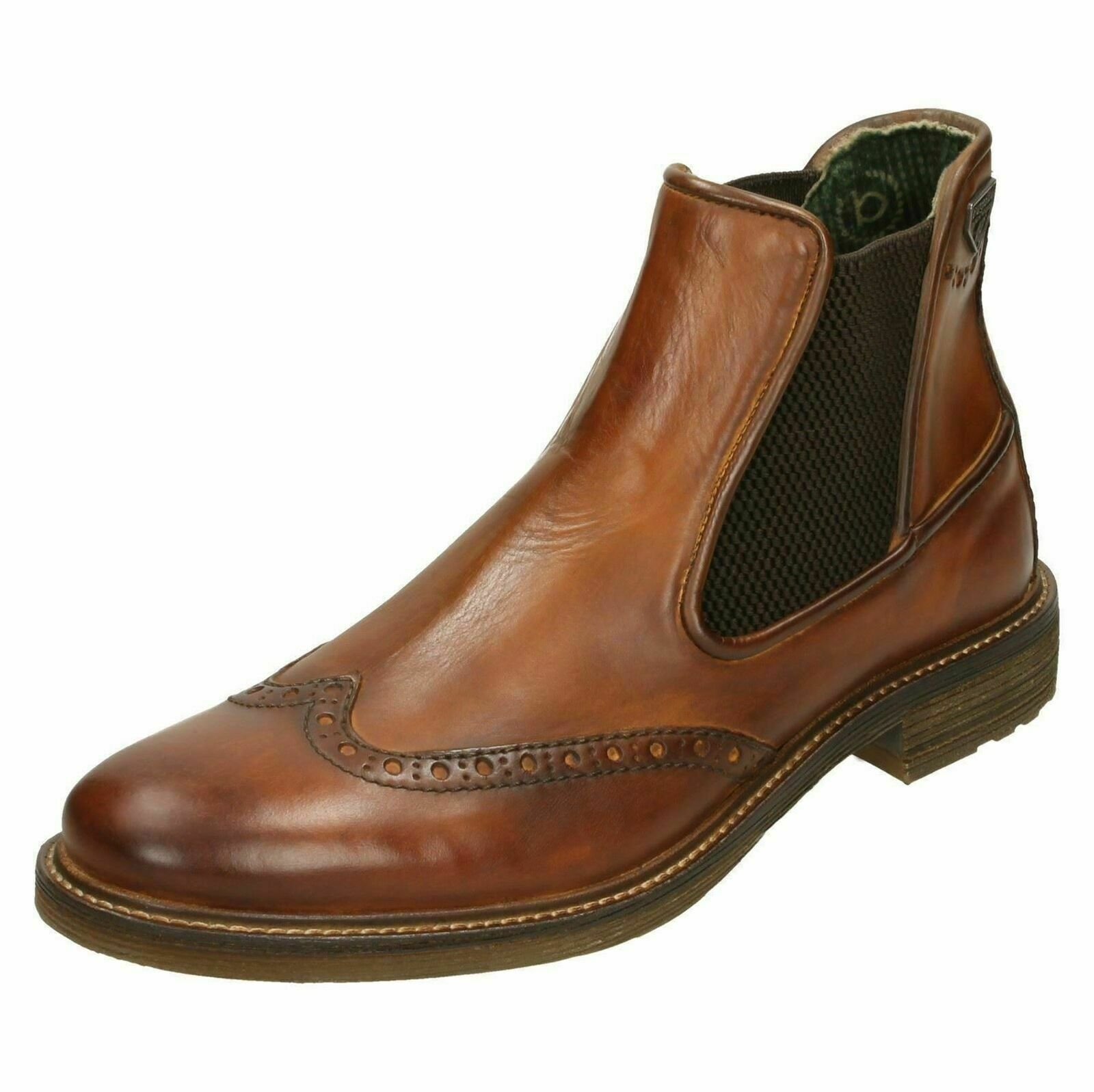 Mens Cognac Leather Pull On Formal Smart Bugatti Ankle Stiefel 311-3773A-1100