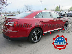 10-19-Ford-Taurus-8Pc-Chrome-Flat-Lower-Body-Side-Molding-Trim-Door-Accent-Cover