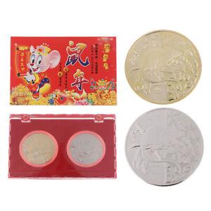 2x-box-2020-Jahr-der-Ratte-Gedenkmuenze-Chinesisches-Sternzeichen-Andenkenmuenzen