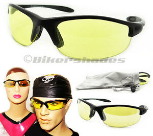 23f1a43eff3 Night Vision YELLOW Computer Lens Glasses Small Wrap Driving Tennis ...