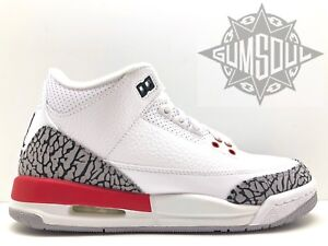 Air Jordan 3 Retro Katrina Big Kids 398614-116 White Red Cement Shoes Size 4