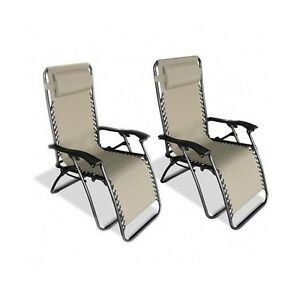 Zero gravity chair beige set 2 anti gravity chaise for Anti gravity suspension chaise lounge