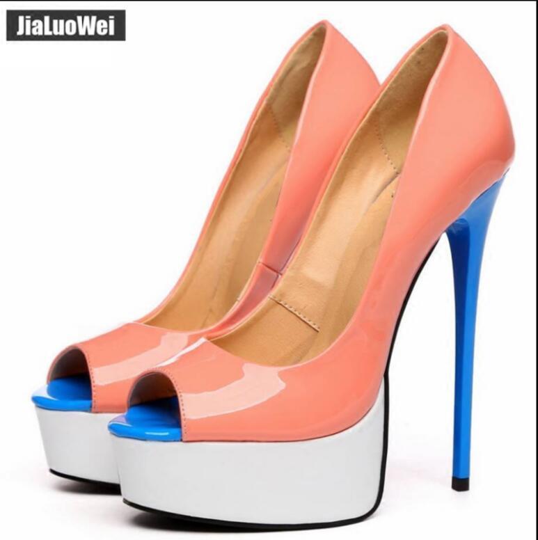 Damen Schuhe Pumps Stiletto Größe Nachtclub Schuhe 36-46  Lackleder Peeptoe