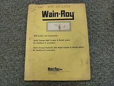 Wain Roy Swinger Bucket System On Case 680k Owner Operator Installation Manual