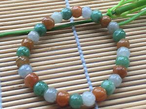 Certified Green Natural A JADE  JADEITE Hand Carved 7mm Flower Bead Bracelet 229