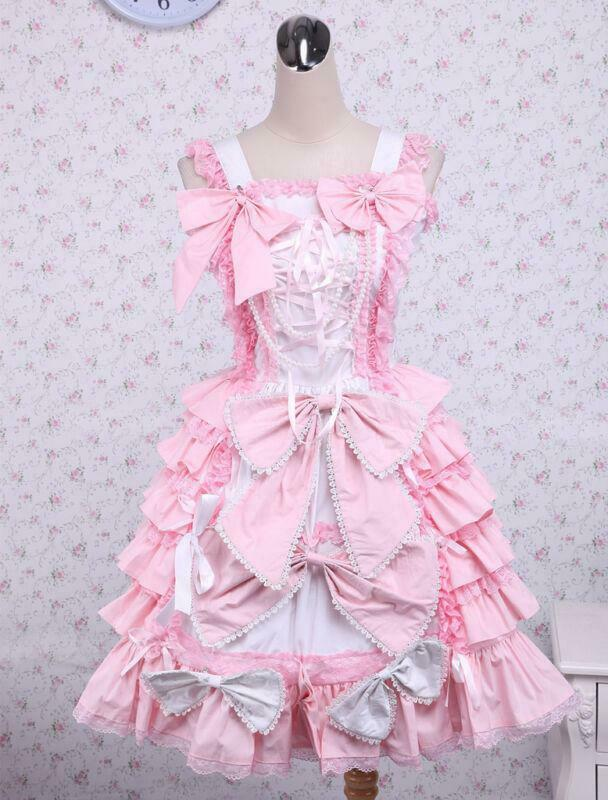 Classic Pink Bows Ruffles Cotton one piece piece piece Lolita Dresses Mini Skirts Cute Ske15 688771