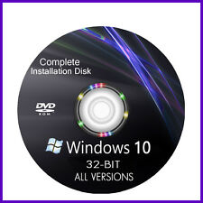 Windows 10 32-bit All Versions install reinstall recovery DVD Disc Support