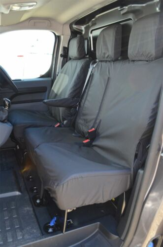 Black Driver Double Front Passenger Seat Covers for Citroen Dispatch 2016 on