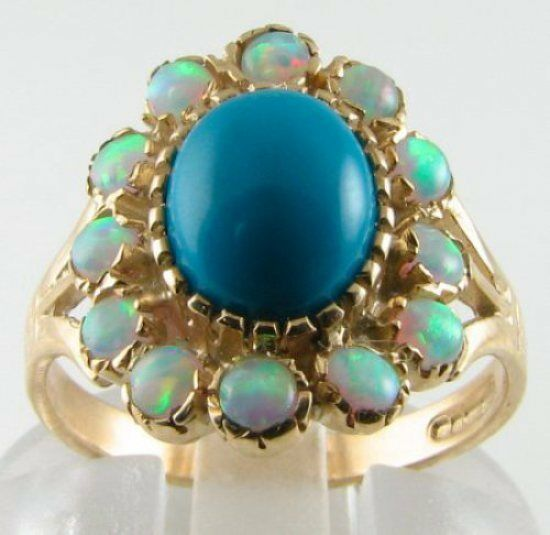 LARGE 9K 9K gold 10mm x 8mm TURQUOISE & OPAL CLUSTER RING FREE RESIZE
