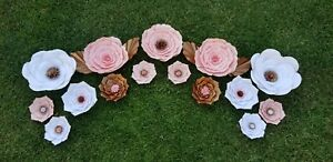 Details About Paper Flower Backdrop In White Pink And Gold Multiple Sizes