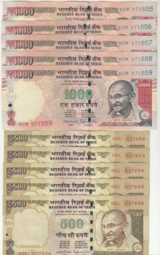 India Set of 2 Different Denomination 1000 /& 500 Each 5 Nos Old Issue in UNC