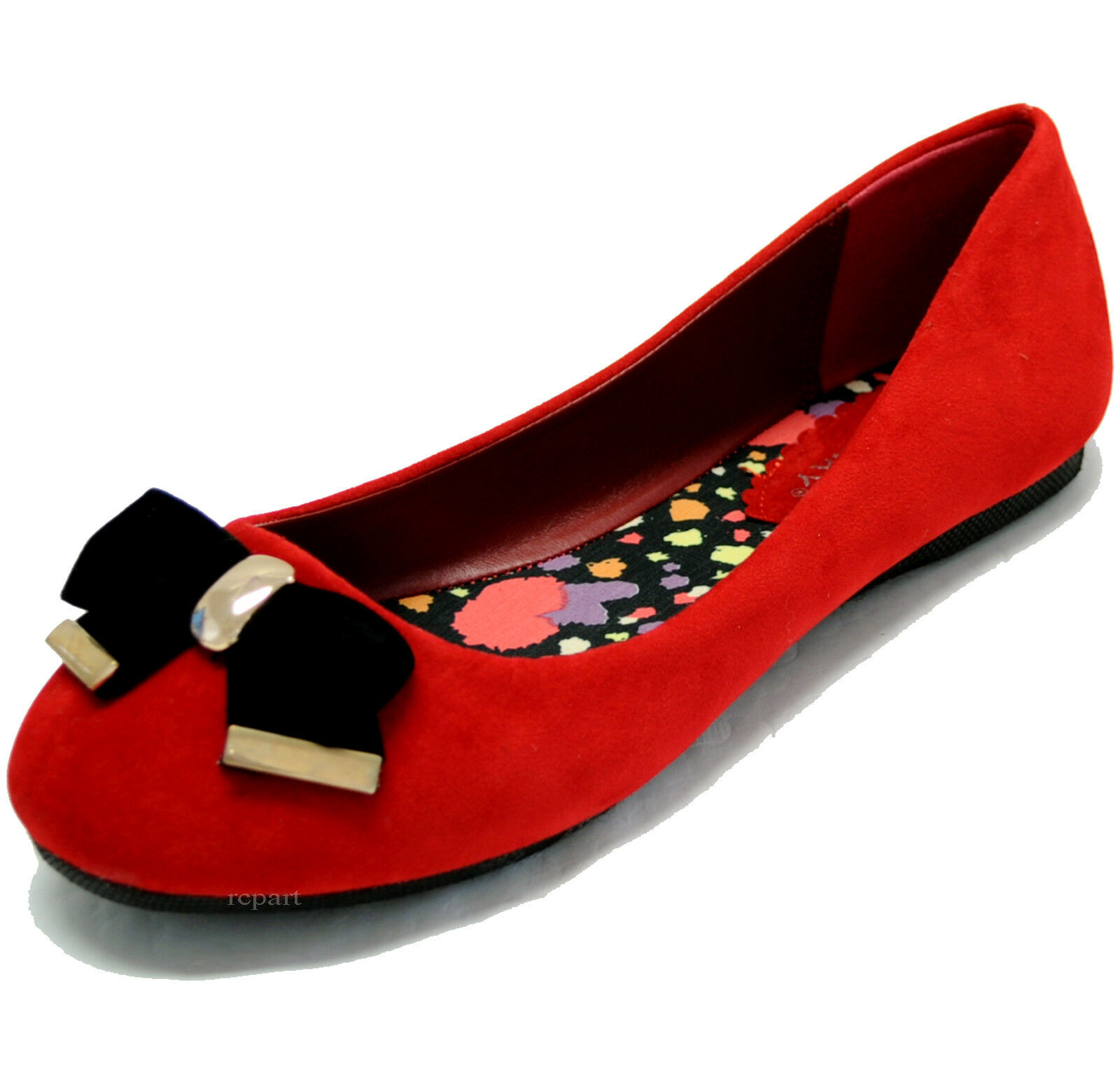 New women/'s shoes red ballet flat ballerina suede like black bow casual