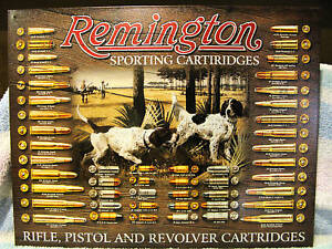 Tin Sign-Remington Sporting Cartiridges-Bi<wbr/>rd Dog-Bullet