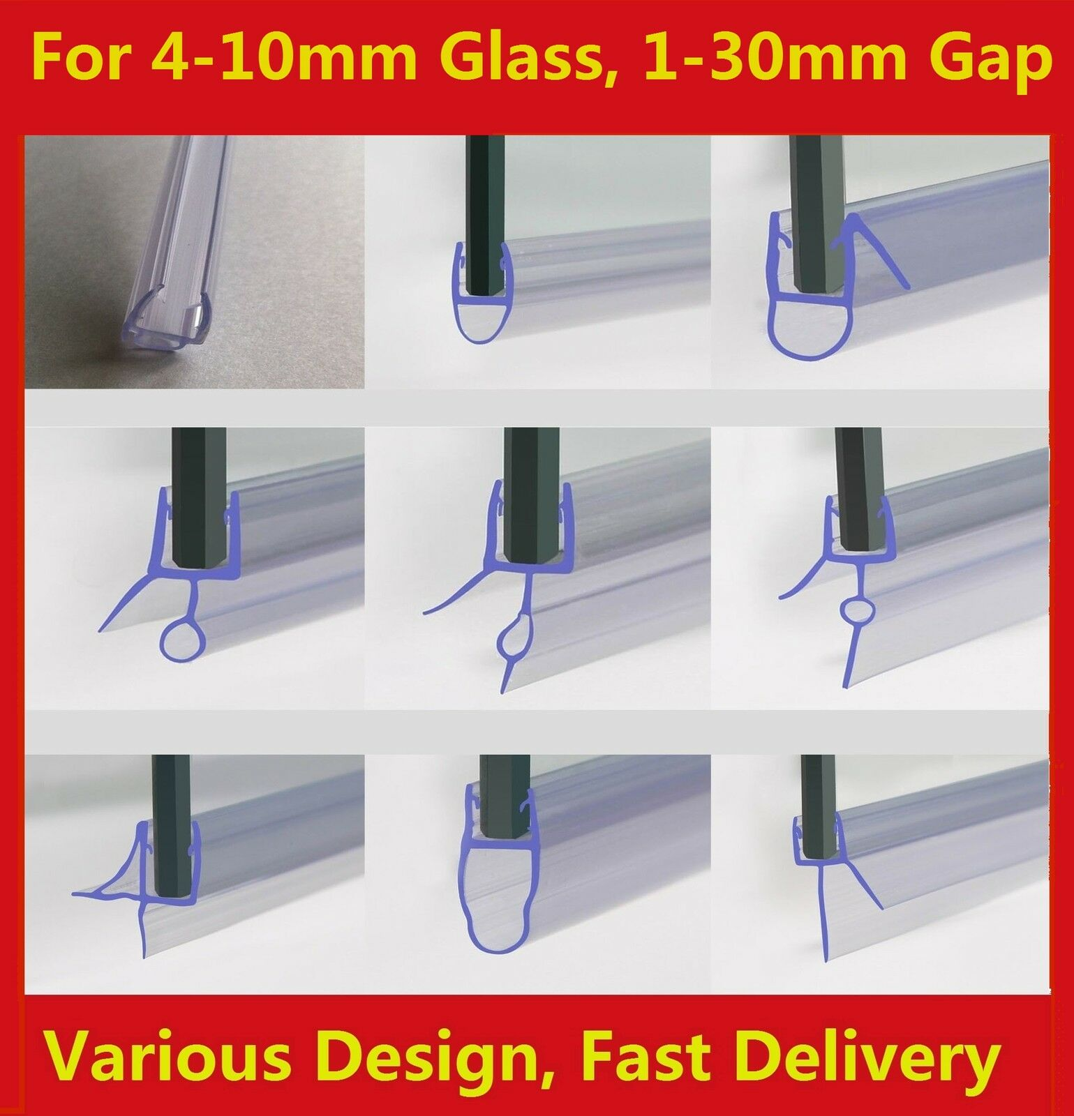 Rubber Plastic Shower Screen Seal Strip For 4 8mm Curved Flat Glass Bath Door