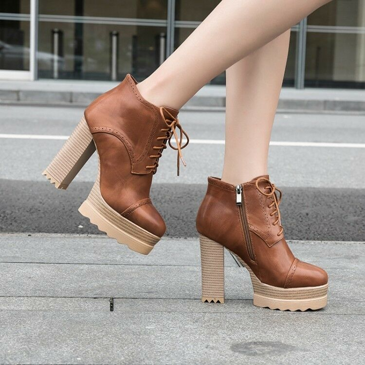 Womens Punk Leather Lace Up Ankle Boots High Top Block Heel Side Zipper shoes US