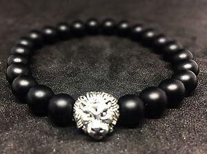 Gelernt Onyx Matt - Silberfarbener Löwenkopf - Armband Bracelet Perlenarmband 8mm Um Zu Helfen, Fettiges Essen Zu Verdauen