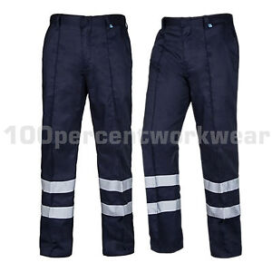 Aqua-Navy-Blue-High-Visibility-Polycotton-Sewn-In-Crease-Work-Trousers-Pants-New