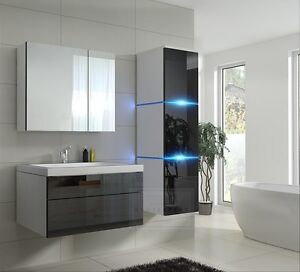 Details zu Badmöbel LUX 1 NEW MDF Badezimmermöbel Schwarz/Weiß Hochglanz  KERAMIKBECKEN LED