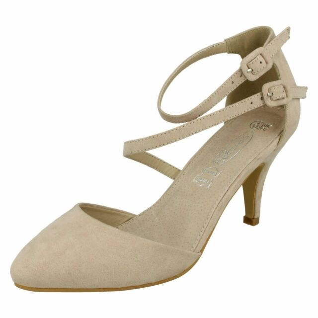 eb90c398206d Ladies Spot on Mid Heel Strappy Court Shoes F9657 Nude Standard UK 4 ...