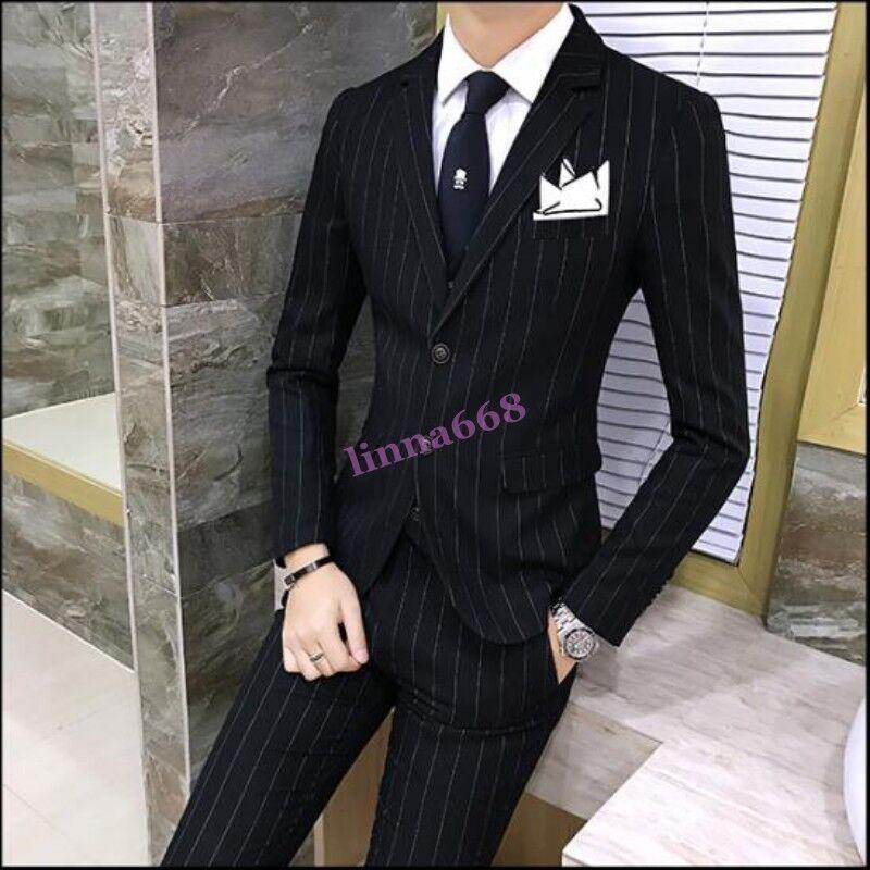 Mens Slim Fit Wedding Korean Formal Stripes 3PCS Coat Pants Vest Suits Blazer