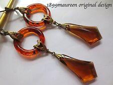 Art Deco Art Nouveau earrings 1920s vintage style amber lucite geometric LONG