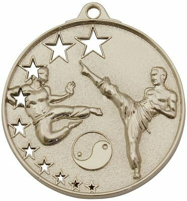 Sporting Goods Boxing, Martial Arts & Mma Rational Martial Arts Karate Silver Medal Trophy Award 52mm Free Engraving & Ribbon Mh Skilful Manufacture